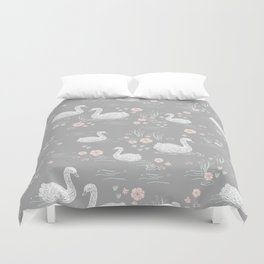 Swans painting cute girly trend cell phone case with swans pattern florals hand painted Duvet Cover