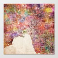 melbourne Canvas Prints featuring Melbourne  by MapMapMaps.Watercolors