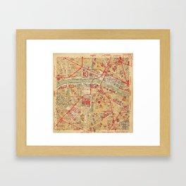 Paris City Centre Map - Vintage Full Color Framed Art Print