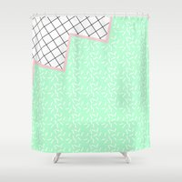 memphis Shower Curtains featuring MEMPHIS GREEN by Rocío Olmo