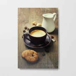 Coffee, milk and cookies on wooden background Metal Print