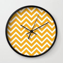 orange, white zig zag pattern design Wall Clock