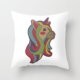 Unicorn Head! Throw Pillow
