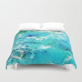 Artistic blue teal hand painted watercolor abstract pattern Duvet Cover