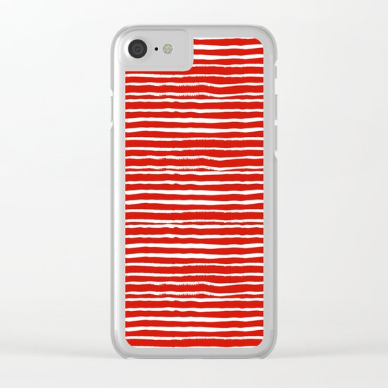 Minimal Christmas red and white holiday pattern stripes candy cane stripe pattern Clear iPhone Case