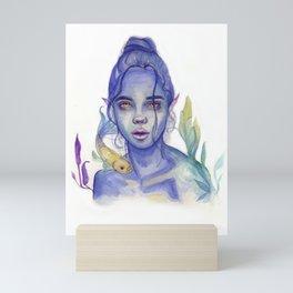 Indigo Mermaid Girl Mini Art Print