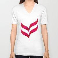 herringbone V-neck T-shirts featuring Red Leaf Herringbone by rollerpimp