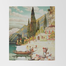 Switzerland and Italy Via St. Gotthard Travel Poster Throw Blanket