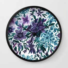 Watercolor Floral - Moonlight Garden Purple Blue Green Flowers Wall Clock