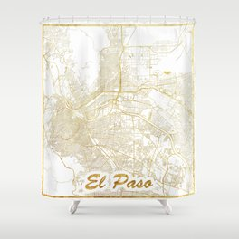 El Paso Map Gold Shower Curtain