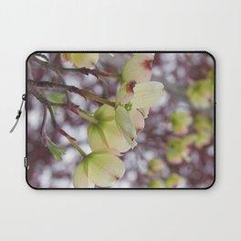 yellow dogwood flowers on black maple bokeh Laptop Sleeve