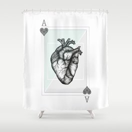 Ace Of Hearts - Mint Shower Curtain