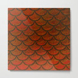 Bronze Brick Scales Metal Print