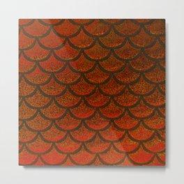 Bronze Brick Scales Metal Print