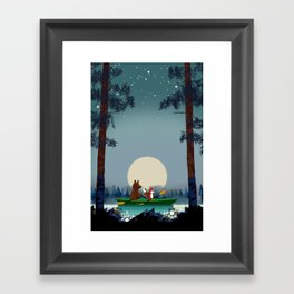 Bear and Fox kayaking on a wild forest river Framed Art Print