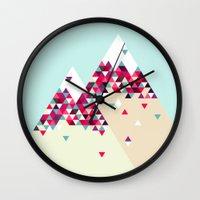 twin peaks Wall Clocks featuring Twin Peaks by Attitude Creative