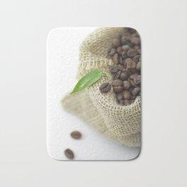 Coffee beans in still life  in jute sack Bath Mat