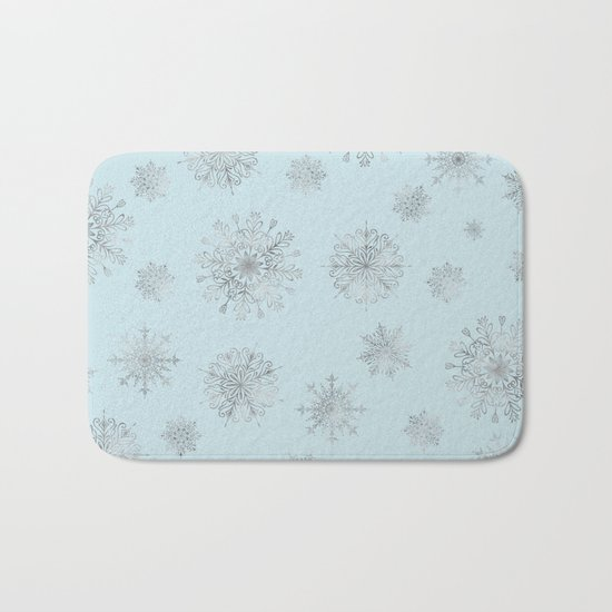 Assorted Silver Snowflakes On Light Blue Background Bath Mat
