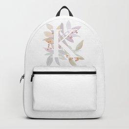 Decorative Monogram K - Purple Leaves Backpack