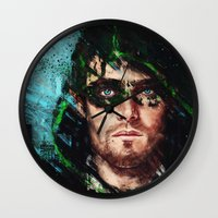archer Wall Clocks featuring The Archer by Monika Gross