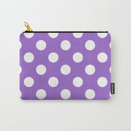 Amethyst - violet - White Polka Dots - Pois Pattern Carry-All Pouch