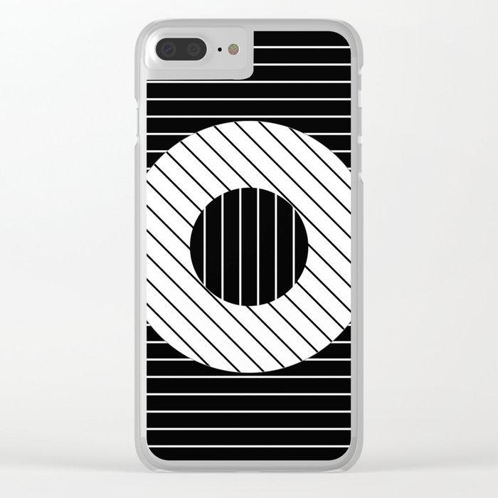 Turn (Minimalistic, black and white, geometric design) Clear iPhone Case