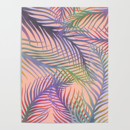 Palm Leaves Pattern - Purple, Peach, Blue Poster