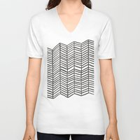 herringbone V-neck T-shirts featuring Herringbone – Black & White by Cat Coquillette