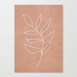 Engraved Leaf Line Canvas Print
