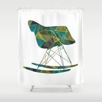eames Shower Curtains featuring Eames Rocker by Melissa Nocero