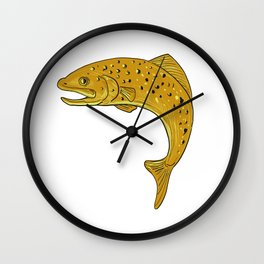 Brown Trout Jumping Drawing Wall Clock