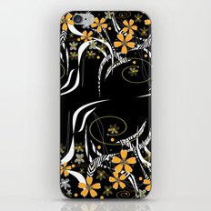 Yellow flowers on a black background . iPhone & iPod Skin