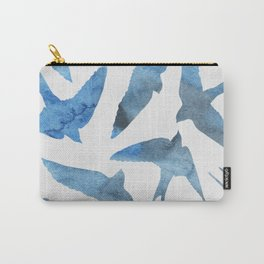 Watercolor birds - sapphire ink Carry-All Pouch