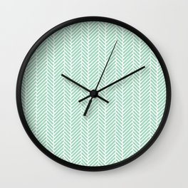 Herringbone Mint Inverse Wall Clock