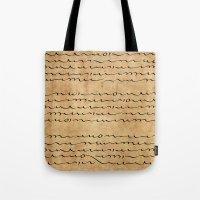 bible verses Tote Bags featuring Asemic Script Verses by Lestaret