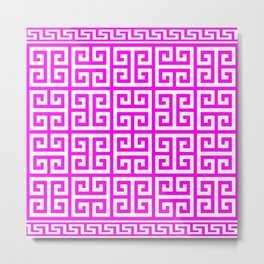 Greek Key (Magenta & White Pattern) Metal Print