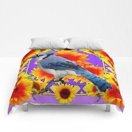 YELLOW SUNFLOWERS & BLUE JAY PURPLE ART Comforters