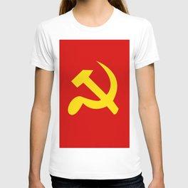 Soviet Union Hammer and Sickle Communist flag. T-shirt