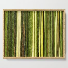 green beige brown yellow abstract striped digital design Serving Tray