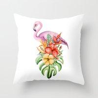 flamingo Throw Pillows featuring Flamingo by Julia Badeeva