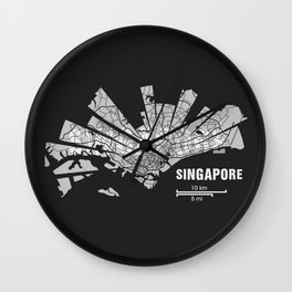Singapore Map Wall Clock