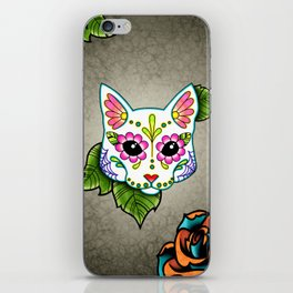 White Cat - Day of the Dead Sugar Skull Kitty iPhone Skin