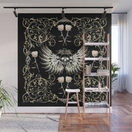 Skull Wings & White Roses Wall Mural