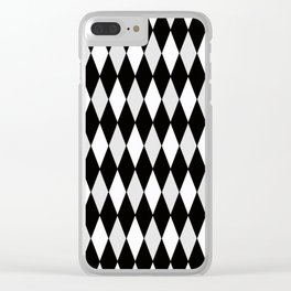 Harlequin Black and White and Gray Clear iPhone Case