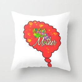 THINKING OF MOTHER Throw Pillow