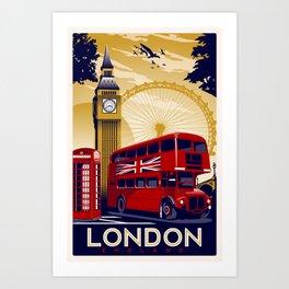 london england retro vintage travel poster Kunstdrucke