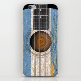 Old Vintage Acoustic Guitar with Argentine Flag iPhone Skin