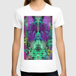 Sugar Skull and Girly Corks (psychedelic, abstract, halftone, op art) T-shirt