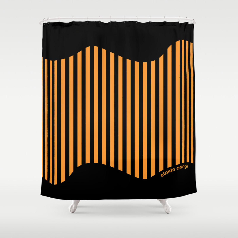 Etoide Jingga Orange Black Stripes Shower Curtain