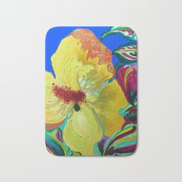 Birthday Acrylic Yellow Orange Hibiscus Flower Painting with Red and Green Leaves Bath Mat